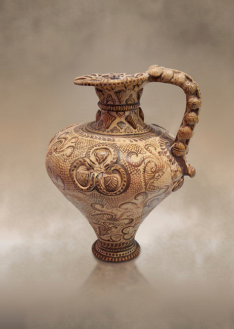 The Minoan decorated ritual Ewer From Poros with marine reliefs ,Poros Heraklion 1450 BC; Heraklion Archaeological  Museum.<br /> <br /> This elegant Ewer excavated from Poros is a fine example of the matute marine style of Minoan Ewer. The body is covered with  calligraphic network of dotted scale patterns, indicating the sea, in which nautili swim amongst rocks and seaweed. This style of Ewer was made in specialist workshops in the Knossos area and can be attributed to the same worksop that made ewers excavated from Zakros room IV-V. and another in Marseilles Museum
