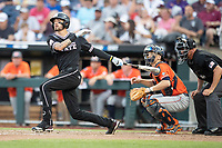 Mississippi State Bulldogs designated hitter Gunner Halter (2) follows through on his swing during Game 4 of the NCAA College World Series against the Auburn Tigers on June 16, 2019 at TD Ameritrade Park in Omaha, Nebraska. Mississippi State defeated Auburn 5-4. (Andrew Woolley/Four Seam Images)