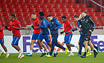07.11.18 Rangers training at the Spartak Stadium, Moscow: Steven Gerrard warming up with his players