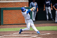 Duke Blue Devils right fielder Peter Matt (51) belts a home run against the Liberty Flames in NCAA Regional play on Robert M. Lindsay Field at Lindsey Nelson Stadium on June 4, 2021, in Knoxville, Tennessee. (Danny Parker/Four Seam Images)