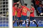 Spain's Dani Ceballos, Rodrigo Moreno, Dani Carvajal, Marco Asensio and Nacho Fernandez celebrate goal during UEFA Nations League 2019 Final Tournament match. September 11,2018.(ALTERPHOTOS/Acero)