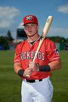 Batavia Muckdogs Keegan Fish (7) poses for a photo before a NY-Penn League game against the West Virginia Black Bears on June 26, 2019 at Dwyer Stadium in Batavia, New York.  Batavia defeated West Virginia 4-2.  (Mike Janes/Four Seam Images)