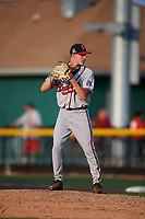 Danville Braves relief pitcher Zach Daniels (48) gets ready to deliver a pitch during a game against the Johnson City Cardinals on July 29, 2018 at TVA Credit Union Ballpark in Johnson City, Tennessee.  Johnson City defeated Danville 8-1.  (Mike Janes/Four Seam Images)