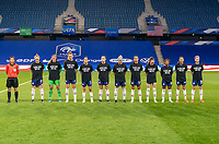 LE HAVRE, FRANCE - APRIL 13: The USWNT lines up before a game between France and USWNT at Stade Oceane on April 13, 2021 in Le Havre, France.