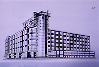 Russia 1920's: I. Golosov, Headquarters for Dept. of Foreign Trade. 1926 proposal. Anatole Kopp, TOWN AND REVOLUITON, 1970.  Reference only.