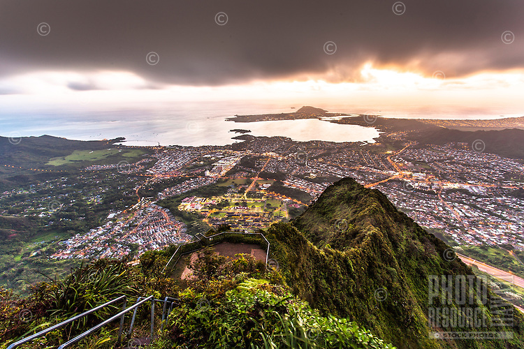 """An aerial view of Kane'ohe at dawn from Ha'iku Stairs (or """"Stairway to Heaven"""") hiking trail in Kane'ohe, O'ahu."""