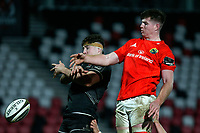 12 December 2020; David McCann of Ulster battles with Paddy Kelly during the A series inter-pros series 20-21 between Ulster A and Munster A at Kingspan Stadium, Ravenhill Park, Belfast, Northern Ireland. Photo by John Dickson/Dicksondigital