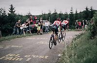 Tim Wellens (BEL/Lotto-Soudal) & Thomas de Gendt (BEL/Lotto-Soudal) up the first HC climb of the day; the Col de la Biche (10.5km @9%)<br /> <br /> 104th Tour de France 2017<br /> Stage 9 - Nantua › Chambéry (181km)