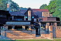 F.L. Wright: Studio & House, Chicago Ave. Front Elevation.  Photo '76.