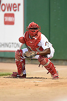 Peoria Chiefs catcher Gerwuins Velazco (21) in the bullpen during a game against the Kane County Cougars on June 2, 2014 at Dozer Park in Peoria, Illinois.  Peoria defeated Kane County 5-3.  (Mike Janes/Four Seam Images)