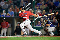 Rochester Red Wings catcher Anthony Recker (30) at bat during the first game of a doubleheader against the Scranton/Wilkes-Barre RailRiders on August 23, 2017 at Frontier Field in Rochester, New York.  Rochester defeated Scranton 5-4 in a game that was originally started on August 22nd but postponed due to inclement weather.  (Mike Janes/Four Seam Images)