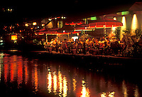 Restaurant along the Riverwalk at night, San Antonio, Texas, TX