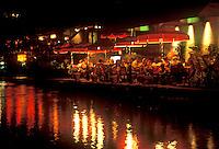 Restaurant along the Riverwalk at night, San Antonio, Texas, TX