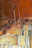 Chateau Rives-Blanques. Limoux. Languedoc. Barrel cellar. Electrical immersion heating element. France. Europe.