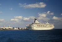 cruise ship, Bermuda, The West End, Sandy's Parish, Royal Princess docked at the Cruise Ship Terminal at the Royal Naval Dockyard at the end of Ireland Island in Sandy's Parish in Bermuda.