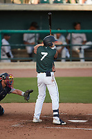 Nick Schnell (7) of the Charleston Boiled Peanuts at bat against the Augusta GreenJackets at Joseph P. Riley, Jr. Park on June 26, 2021 in Charleston, South Carolina. (Brian Westerholt/Four Seam Images)