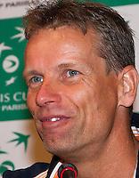 11-sept.-2013,Netherlands, Groningen,  Martini Plaza, Tennis, DavisCup Netherlands-Austria, Press conference, Captain Jan Siemerink   <br /> Photo: Henk Koster