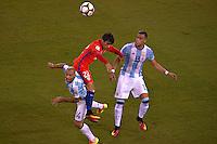 Action photo during the match Argentina vs Chile corresponding to the Final of America Cup Centenary 2016, at MetLife Stadium.<br /> <br /> Foto durante al partido Argentina vs Chile cprresponidente a la Final de la Copa America Centenario USA 2016 en el Estadio MetLife , en la foto:(i-d)Javier Mascherano de Argentina y Edson Puch de Chile<br /> <br /> <br /> 26/06/2016/MEXSPORT/JAVIER RAMIREZ
