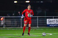 goalkeeper Nicky Evrard (1) of AA Gent pictured during a female soccer game between  Racing Genk Ladies and AA Gent Ladies on the eleventh matchday of the 2020 - 2021 season of Belgian Scooore Womens Super League , friday 22 th of January 2021  in Genk , Belgium . PHOTO SPORTPIX.BE | SPP | DAVID CATRY