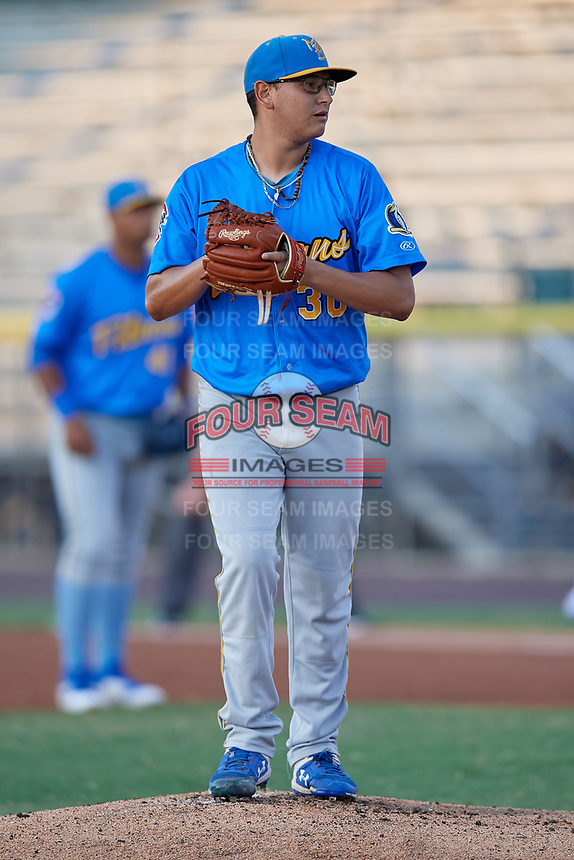Myrtle Beach Pelicans pitcher Javier Assad (30) during a Carolina League game against the Potomac Nationals on August 14, 2019 at Northwest Federal Field at Pfitzner Stadium in Woodbridge, Virginia.  Potomac defeated Myrtle Beach 7-0.  (Mike Janes/Four Seam Images)