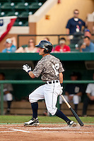 Alden Carrithers (12) of the Lakeland Flying Tigers during a game vs. the Tampa Yankees May 15 2010 at Joker Marchant Stadium in Lakeland, Florida. Tampa won the game against Lakeland by the score of 2-1.  Photo By Scott Jontes/Four Seam Images