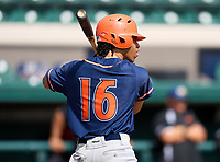 Escambia Gators JoJo Blackmon (16) bats during the 42nd Annual FACA All-Star Baseball Classic on June 6, 2021 at Joker Marchant Stadium in Lakeland, Florida.  (Mike Janes/Four Seam Images)