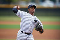 GCL Yankees East pitcher Joensy Abreu (21) throws on a side field during a Gulf Coast League game against the GCL Phillies East on July 31, 2019 at Yankees Minor League Complex in Tampa, Florida.  GCL Phillies East defeated the GCL Yankees East 4-3 in the second game of a doubleheader.  (Mike Janes/Four Seam Images)
