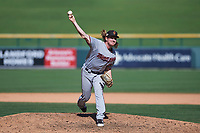 Surprise Saguaros relief pitcher Ryan Eades (43), of the Minnesota Twins organization, delivers a pitch to the plate during a game against the Mesa Solar Sox on October 20, 2017 at Sloan Park in Mesa, Arizona. The Solar Sox walked-off the Saguaros 7-6.  (Zachary Lucy/Four Seam Images)