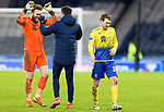 St Johnstone v Hibs…23.01.21   Hampden     BetFred Cup Semi-Final<br />Zander Clark celebrates with Callum Booth and David Wotherspoon at full time<br />Picture by Graeme Hart.<br />Copyright Perthshire Picture Agency<br />Tel: 01738 623350  Mobile: 07990 594431