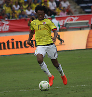 BARRANQUILLA -COLOMBIA, 1-SEPTIEMBRE-2016. Juan Cuadrado jugador de Colombia en acción contra   Venezuela durante el  encuentro  por las eliminatorias al mundial de Rusia 2018  disputado en el estadio Metropolitano Roberto Meléndez de Barranquilla./  Juan Cuadrado player of Colombia in actions against Venezuela during the qualifying match for the 2018 World Championship in Russia Metropolitano Roberto Melendez stadium in Barranquilla . Photo:VizzorImage / Felipe Caicedo  / Staff