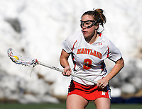 Caitlyn McFadden (3) of Maryland carries the ball upfield at the practice turf field in College Park, Maryland.  Maryland defeated Richmond, 17-7.