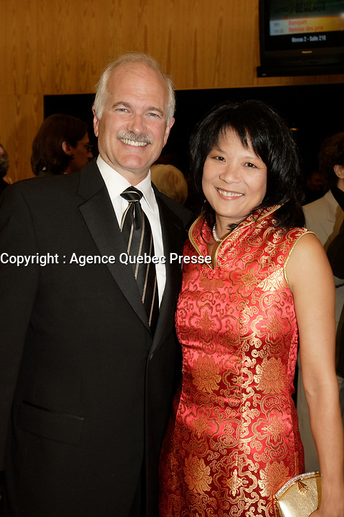 Montreal (Qc) CANADA, September 9, 2007 -<br /> Jack Layton, NDP Leader and wife Olivia Chow,<br /> Gala des Gemeaux, Palais des Congres de Montreal.<br /> <br /> <br /> <br />  - UPDATED CAPTION : (File photo of) NDP Leader  Jack Layton <br /> Layton died of cancer, today  August 22, 2011
