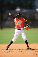 GCL Astros shortstop Joan Mauricio (47) throws to first during the first game of a doubleheader against the GCL Mets on August 5, 2016 at Osceola County Stadium Complex in Kissimmee, Florida.  GCL Astros defeated the GCL Mets 4-1 in the continuation of a game started on July 21st and postponed due to inclement weather.  (Mike Janes/Four Seam Images)
