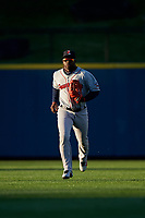 Pawtucket Red Sox center fielder Rusney Castillo (38) jogs to the dugout during a game against the Scranton/Wilkes-Barre RailRiders on May 15, 2017 at PNC Field in Moosic, Pennsylvania.  Scranton defeated Pawtucket 8-4.  (Mike Janes/Four Seam Images)