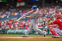 28 July 2013: New York Mets infielder Daniel Murphy in action against the Washington Nationals at Nationals Park in Washington, DC. The Nationals defeated the Mets 14-1. Mandatory Credit: Ed Wolfstein Photo *** RAW (NEF) Image File Available ***