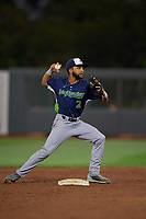 Vermont Lake Monsters second baseman Yerdel Vargas (2) throws to first base during a NY-Penn League game against the Aberdeen IronBirds on August 19, 2019 at Leidos Field at Ripken Stadium in Aberdeen, Maryland.  Aberdeen defeated Vermont 6-2.  (Mike Janes/Four Seam Images)