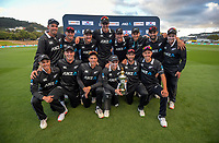 The Black Caps with the series trophy after the third One Day International cricket match between the New Zealand Black Caps and Bangladesh at the Basin reserve in Wellington, New Zealand on Friday, 26 March 2021. Photo: Dave Lintott / lintottphoto.co.nz