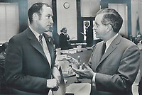 1969 FILE PHOTO - ARCHIVES -<br /> <br /> Marking his point: Quebec Premier Jean-Jacques Bertrand uses his hands for emphasis as he talks with Prime Minister Pierre Elliott Trudeau after yesterday's federal-provincial constitutional conference in Ottawa. It was an interesting discussion; Bertrand said; while refusing to reveal any of topics discussed.<br /> <br /> 1969<br /> <br /> PHOTO :  Dick Darrell - Toronto Star Archives - AQP