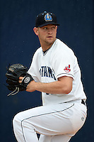 Lake County Captains pitcher Dace Kime (35) warms up in the bullpen before a game against the Dayton Dragons on June 8, 2014 at Classic Park in Eastlake, Ohio.  Lake County defeated Dayton 4-2.  (Mike Janes/Four Seam Images)
