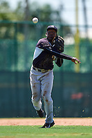GCL Yankees East third baseman Yeison Corredera (87) throws to first during a game against the GCL Pirates on August 15, 2016 at the Pirate City in Bradenton, Florida.  GCL Pirates defeated GCL Yankees East 5-2.  (Mike Janes/Four Seam Images)