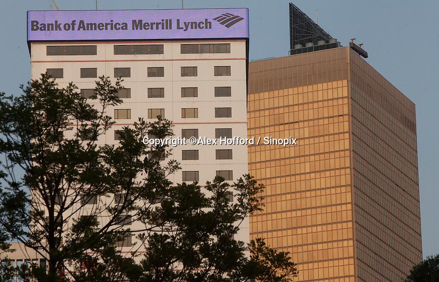 An exterior shot of the Bank of America Merrill Lynch, Central district, Hong Kong, China, 28 April 2014.