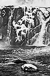 Partially frozen section of the waterfall at the Croton Dam, Croton-on-Hudson, New York