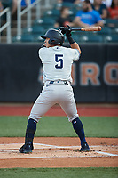 Anthony Volpe (5) of the Hudson Valley Renegades at bat against the Aberdeen IronBirds at Leidos Field at Ripken Stadium on July 23, 2021, in Aberdeen, MD. (Brian Westerholt/Four Seam Images)