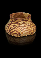 Chalcolithic decorated terra cotta pot. Circa 5000BC. Catalhoyuk collection, Konya Archaeological Museum, Turkey. Against a black background