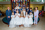 Coolick NS received their First Holy Communion in Our Lady of Lourdes Church Kilcummin on Saturday, l to r: Danny Murphy (Teacher), Fiona McSweeney (Teacher) and Fr Kevin McNamara