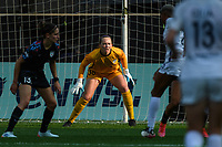 BRIDGEVIEW, IL - JULY 18: Cassie Miller #38 of the Chicago Red Stars stands in goal during a game between OL Reign and Chicago Red Stars at SeatGeek Stadium on July 18, 2021 in Bridgeview, Illinois.