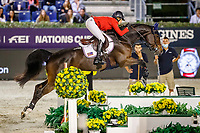 USA-Laura Kraut rides Baloutinue during the Longines FEI Jumping Nations Cup™ Final - First Round. 2021 ESP-Longines FEI Jumping Nations Cup Final. Real Club de Polo, Barcelona. Spain. Friday 1 October 2021. Copyright Photo: Libby Law Photography