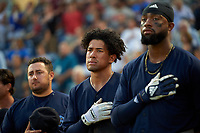 Mobile BayBears Jahmai Jones (center) during the national anthem before a Southern League game against the Mobile BayBears on July 25, 2019 at Blue Wahoos Stadium in Pensacola, Florida.  Pensacola defeated Mobile 3-2 in the second game of a doubleheader.  (Mike Janes/Four Seam Images)