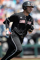 Louisville Cardinals first baseman Logan Wyatt (43) runs to first base during Game 3 of the NCAA College World Series against the Vanderbilt Commodores on June 16, 2019 at TD Ameritrade Park in Omaha, Nebraska. Vanderbilt defeated Louisville 3-1. (Andrew Woolley/Four Seam Images)