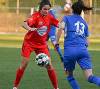 Kenza Vrithof (9) of Woluwe and Gwen Duijsters (13) of KRC Genk in actionduring a female soccer game between  Racing Genk Ladies and White Star Woluwe on the 8 th matchday of play off 2 in the 2020 - 2021 season of Belgian Scooore Womens Super League , tuesday 18 th of May 2021  in Genk , Belgium . PHOTO SPORTPIX.BE | SPP | JILL DELSAUX